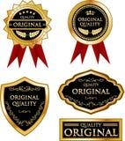 Original- kvalitets- guldmedaljetikettsamling Royaltyfri Illustrationer