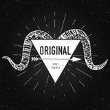 Original - label avec la tête de la RAM sur le fond de tableau avec la typographie de vintage Timbre ou bannière de vecteur Images libres de droits