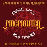 Original label typeface. Named `Firefighter`. Good to use in any label design Stock Images