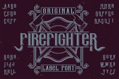Original label typeface. Named `Firefighter`. Good to use in any label design Royalty Free Stock Photo