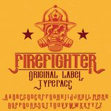 Original label typeface. Named `Firefighter`. Good to use in any label design Stock Photography