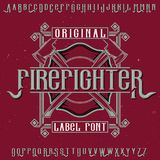 Original label typeface. Named `Firefighter`. Good to use in any label design Stock Photos