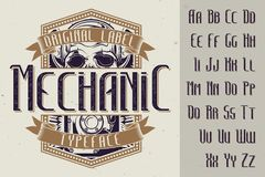 Original label typeface Stock Photography