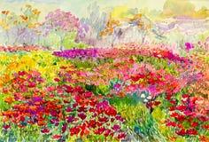 Original- landskap för vattenfärgmålning som är färgrikt av blommafält i trädgård Royaltyfria Bilder