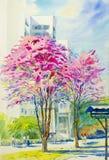 Original- landskap för vattenfärgmålning som är färgrikt av den lösa himalayan körsbäret royaltyfri illustrationer
