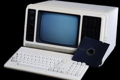 Original Laptop?. Computer from the early 1980s, billed as portable Stock Photos