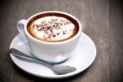 Original Latte on Wood Background. Royalty Free Stock Image