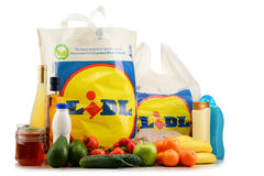Original Lidl plastic shopping bag and products Stock Photo
