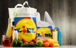 Original Lidl plastic shopping bag and products Royalty Free Stock Images