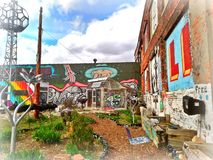 Detroits Original Lincoln Car Factory Art Park. Original Lincoln Car Factory turned Community Art Gallery in Detroit, Michigan. Photo captured May 1, 2017 Royalty Free Stock Image