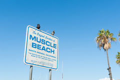 Original location of Muscle Beach sign on Santa Monica Beach Stock Images