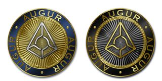 Cryptocurrency AUGUR coin. Original luxury illustration cryptocurrency gold and silver coin Royalty Free Stock Image