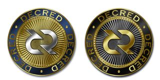 Cryptocurrency DECRED coin. Original luxury illustration cryptocurrency gold and silver coin Stock Photo