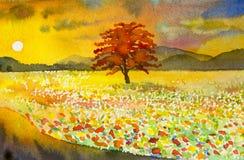 Original- målning för vattenfärglandskap som är färgrik av bergsikt Arkivbild