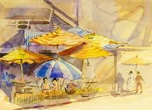 Original- målning för vattenfärglandskap som är färgrik av familjeliv vektor illustrationer