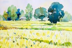 Original- målning för vattenfärglandskap som är färgrik av stugan, risfält Arkivfoton