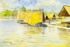 Original- målning för vattenfärglandskap som är färgrik av vattentorn vektor illustrationer