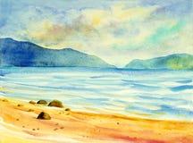 Original- målning för vattenfärgseascape som är färgrik av havssikt, strand Arkivbilder
