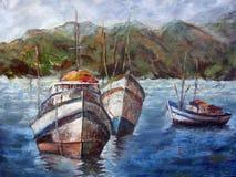 Original- målningolja för marin på kanfasfartyg som seglar med berg bakom stock illustrationer