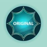 Original magical glassy sunburst blue button sky blue background. Original Isolated on magical glassy sunburst blue button sky blue background royalty free stock photos