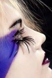 Original make-up. Girls face with original make-up - fake eyelashes stock images