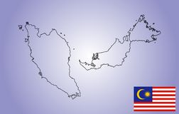 Malaysia  map contour and  flag of Malaysia. Original Malaysia  map contour and  flag isolated on blue background. The Malaysia is a member of Asean Economic Stock Image