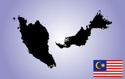 MALEZIJA mapa.cdr. Original Malaysia vector map silhouette and vector flag Malesia isolated on blue background. The Malaysia is a member of Asean Economic stock illustration