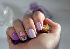 Original manicure with ice cream stock photography