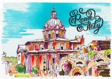 Original- markörmålning av Rome Italien cityscape med handlette stock illustrationer