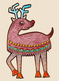 Original marker drawing of christmas deer Royalty Free Stock Image