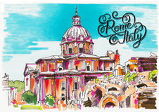 Original marker painting of Rome Italy cityscape with hand lette Royalty Free Stock Photo