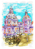 Original marker painting of Rome Italy cityscape with hand lette Stock Photos