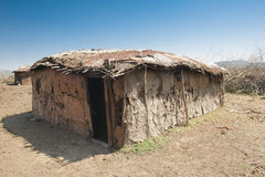 Masai hut. Original Masai hut in Tanzania made by women from cow dung and sticks stock photography