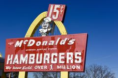Original McDonalds Entrance Sign. This is a late Fall picture of the original entrance sign from Ray Kroc Store 1 located at the McDonald's 1 Store Museum in royalty free illustration