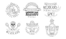 Original vector Mexican logos for restaurants. Monochrome emblems with traditional food and drink, maracas and skull royalty free illustration