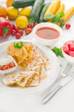 Original Mexican quesadilla de pollo. With nachos  served with gazpacho soup and watermelon ,with fresh vegetables on background,MORE DELICIOUS FOOD ON Stock Photography
