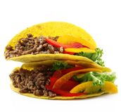 Mexican tacos on white background Royalty Free Stock Images