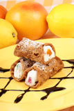 Original mini sicilian cannoli Stock Photo