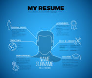 Original minimalist blueprint cv / resume template. Creative white and blue version with big avatar icon stock illustration