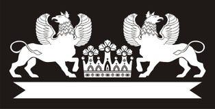 Original   modèle floral noir avec la couronne Image libre de droits