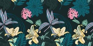 Original- moderiktig sömlös konstnärlig blommamodell Stock Illustrationer