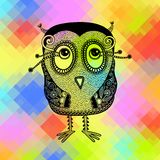 Original modern cute ornate doodle fantasy owl Stock Photography