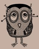 Original modern cute ornate doodle fantasy owl Stock Image