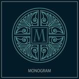 Original- monogrammall Minimalismstil Orientalisk prydnad för tappning Ställe för företagstext vektor illustrationer