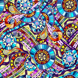 Original mosaic tribal doddle ethnic pattern. Royalty Free Stock Photo