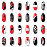 Original nail design using red, black, white. Stock Image