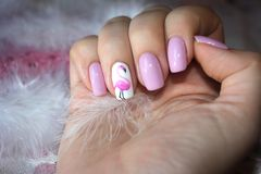 Original nails with a drawing of flamingos Royalty Free Stock Images