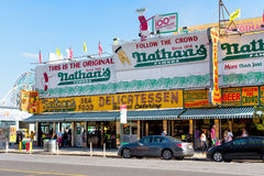 The original Nathan's Famous hot dogs restaurant in Coney Island Stock Image