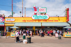 The original Nathan's hot dogs stand at Coney Island in New York Royalty Free Stock Image