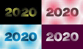 Original New Year 2020 background with halftone elements and font, raster bitmap. Original New Year 2020 background with halftone elements and font, creative vector illustration
